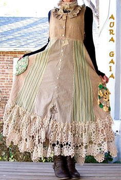 AuraGaia ~ Morphed Poorgirl's Tea Stained Tattered Layering Jumper Dress. upcycled linens, cottons, crocheted lace, vintage doilies