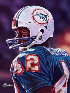 Pro Football Journal Presents: NFL Art: Paul Warfield by Mark Gardner Nfl Football Helmets, Nfl Football Players, Football Art, Football Memes, Vintage Football, College Football, Giants Football, Football Stuff, Fantasy Football