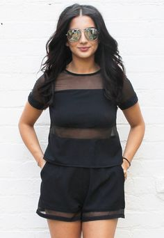 Sheer Stripe Panel Boxy Tee & Tailored Shorts Co-ord Set in Black