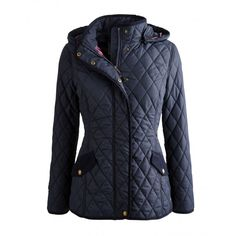 Joules Marcotte Ladies Quilted Jacket (S) - £89.95 www.countryhouseoutdoor.co.uk - One of our best-loved jackets, this true Joules classic is cut to a slightly longer length providing more warmth and cover. A detachable hood and signature hand-drawn lining only add to its universal appeal.