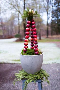 Welcome Christmas! Apples and concrete with branches of spruce Swedish Christmas, Noel Christmas, Scandinavian Christmas, Outdoor Christmas, All Things Christmas, White Christmas, Christmas Crafts, Christmas Decorations, Xmas