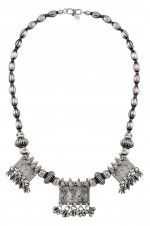 Silver Peacock Motif Taveez Charm Drop Necklace