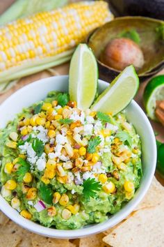 Corn and cotija guacamole (aka Esquites guacamole)  from Closet Cooking