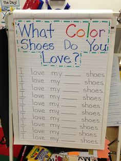 Pete the Cat---What Color Shoes Do You Wear Chart....1/2 way down the page