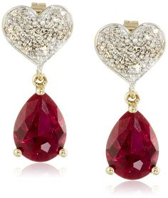 XPY 10k Yellow Gold Heart Diamond Pave with Created Ruby Teardrop Earrings (1/10cttw, I-J Color, I2-I3 Clarity): Clothing
