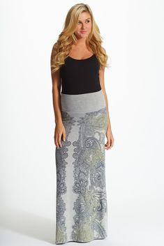 Grey-Paisley-Printed-Maternity-Maxi-Skirt