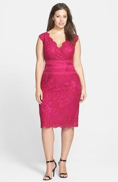 $184, Tadashi Shoji Embroidered Lace Sheath Dress Lotus Pink 16w. Sold by Nordstrom. Click for more info: https://lookastic.com/women/shop_items/75314/redirect