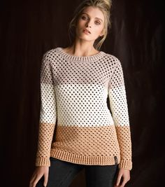 Colour Block Sweater By Cleckheaton - Free Crochet Pattern - (joann)