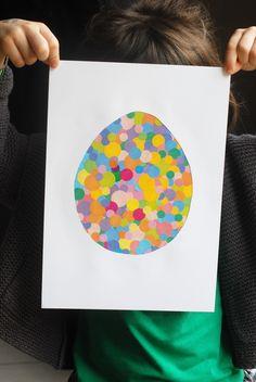 L'œuf de pâques en gommettes | Jouonsensemble.fr