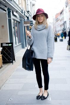 """Holly White, freelance fashion assistant    """"I'm wearing a Topshop hat with an American Apparel jumper, H jeans, vintage shoes and a Zara bag.""""  Street Chic. Vogue UK"""