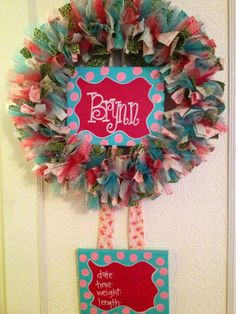 I want to make Baby Girl one of these! Custom Boutique Baby Wreaths, Birth Announcements, and Hospital Door Hangers Hospital Door Wreaths, Hospital Door Hangers, Baby Girl Birth Announcement, Birth Announcements, Baby Door Hangers, Baby Arrival, Wine Bottle Crafts, Baby Boutique, Baby Decor