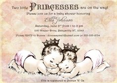 Twins Baby Shower Invitation For Twin Girls - Vintage - Princess - Crown - Pink - DIY Printable on Etsy, $20.00