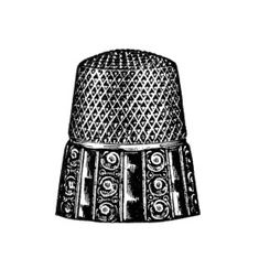 vintage sewing clipart, antique thimble image, black and white clip art, old fashioned thimble illustration, free digital graphics