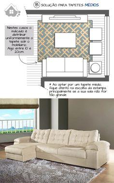 A disposição do tapete e dos móveis na sala de estar