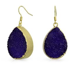 Bling Jewelry Bling Jewelry Gold Plated Brass Dyed Purple Druzy Agate... ($21) ❤ liked on Polyvore featuring jewelry, earrings, purple, purple earrings, gold druzy earrings, gold tear drop earrings, purple druzy earrings and gold jewelry