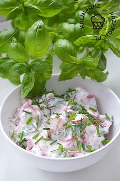 Jogurtowa mizeria z rzodkiewek - KulinarnePrzeboje.pl Spinach, Vegetables, Cooking, Recipes, Food, Salads, Diet, Meal, Kochen