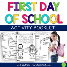 First Day of School BookThis is a great booklet for Kindergarten, 1st, or 2nd graders to complete on their first day of school.  These can be sent home or saved and put into a portfolio for the end of the year.  This booklet contains a full page version or a half page version if you would like to save paper.Connect with MeFun in First on FacebookFun in First on Instagram