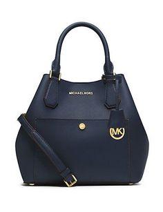 MICHAEL MICHAEL KORS Greenwich Large Saffiano Leather Satchel Bag