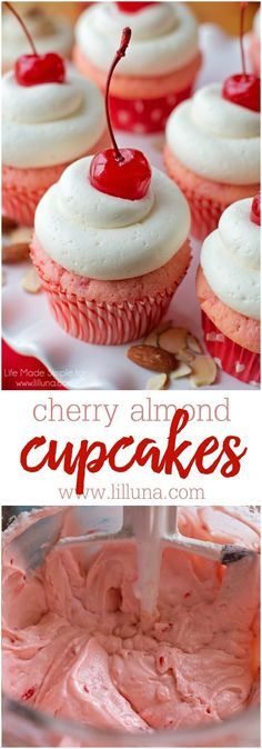 DELICIOUS Cherry Almond Cupcakes with homemade buttercream frosting ! This dessert is delicious! DELICIOUS Cherry Almond Cupcakes with homemade buttercream frosting ! This dessert is delicious! Almond Cupcakes, Yummy Cupcakes, Cherry Cupcakes, Cherry Cake Recipe, Gourmet Cupcakes, Köstliche Desserts, Delicious Desserts, Dessert Recipes, Homemade Cupcake Recipes