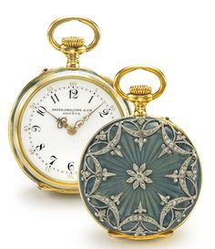 A YELLOW GOLD, ENAMEL, AND DIAMOND-SET OPEN-FACED WATCH MVT 146011 CASE 250671 MADE IN 1907.