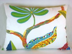 Beach Tropical Lumbar Pillow ..love the mix of color and prints..so Florida Tropic Beachy