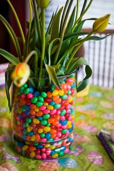 jelly beans and tulip,nothing says spring better! Candy Factory, Easter Flowers, Most Beautiful Flowers, Willy Wonka, 11th Birthday, Spring Is Coming, Chocolate Factory, Jelly Beans, Easter Baskets