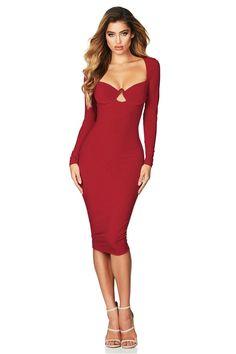 68115d24507 Red Sexy Flirt Long Sleeve Midi Dress  33.12 USD Red Midi Dress