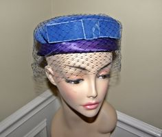 Off to Another Wedding!  What a Busy Season! Vintage Halo Hat Blue & Purple Great Veil Super for by Nicholettes, $22.95