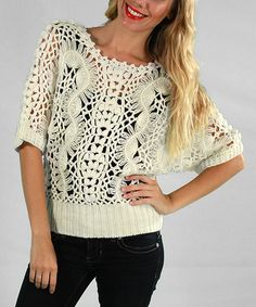 Take a look at this White Crocheted Slouchy Sweater by Bacci on #zulily today!