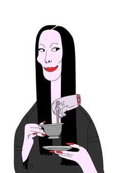 Morticia from Addams Family needs coffee - Thing helps I Love Coffee, Coffee Art, My Coffee, Morning Coffee, Los Addams, Gifs, Adams Family, Fete Halloween, Animation