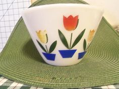 Vintage 1950 Fire King Small Tulip  Mixing Bowl  Oven Ware