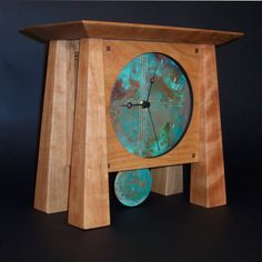 Prairie Deluxe Mantle Clock. Cherry & Patina Copper. Handmade in North Carolina by Sabbath-Day Woods.
