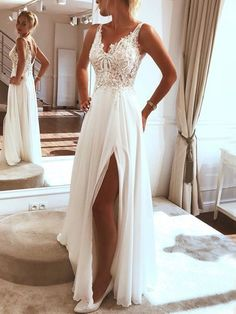 Long prom dress made of white lace tulle, white evening dress - Beach . - Long prom dress made of white lace tulle, white evening dress – Beach Wedding – dress - Lace Beach Wedding Dress, Applique Wedding Dress, Wedding Dress Trends, Dream Wedding Dresses, Wedding Ideas, Modest Wedding, Wedding White, Backless Wedding, Beach Bridal Dresses