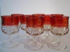 Vintage King's Crown Ruby Flash Thumbprint Wine Glasses - Set of 8 Thumbprint Goblets
