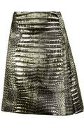 Reed Krakoff|Alligator-print pleated satin skirt|NET-A-PORTER.COM