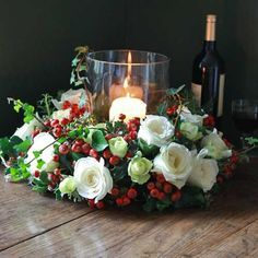 The Real Flower Company Christmas Ivory Rose and Herb Table Wreath