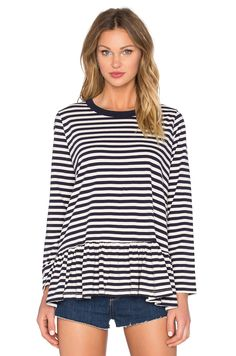 The Great Baggy Ruffle Long sleeve Top in Navy & Cream