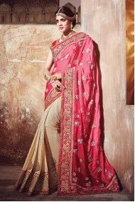 Satin and Georgette Designer Party Wear Saree In Pink and Cream Colour