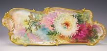 """Exceptional Cr�me De La Cr�me Art-Porcelain Mold Serving Tray Dresser Tray Victorian Masterpiece by Respected Turn of the Century Artist """"MARY BLANCHE LENZI"""" One-of-a-kind Antique hand painted Rosenthal Bavaria Floral Large Tray, circa 1900"""