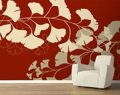 Pattern Name: Gingko, Pattern Color: Red - Easy to Install, Peel & Stick - Removable & Repositionable Without Wall Damage - 96 in. x 150 in. - Can Customize to a Specific Color or Size