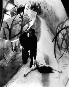 The Cabinet of Dr. Caligari [1919] directed by Robert Wiene, starring Werner Krauss, Conrad Veidt, Friedrich Fehér, Lil Dagover, Hans Hainz v. Twardowsky, and Rudolph Lettinger.
