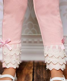 Love this Light Pink Lace Ruffle Leggings - Toddler & Girls by Designs by Meghna on #zulily! #zulilyfinds