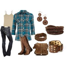 Country Cute. love plaid & boots.