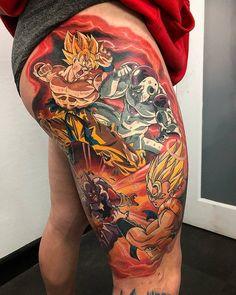 Dragon Ball Z Tattoos by Ry Tattoomiester Anime Tattoos, Leg Tattoos, Body Art Tattoos, Sleeve Tattoos, Dragon Ball Z, Phoenix Tattoo Sleeve, Video Game Tattoos, Mechanic Tattoo, Comic Tattoo