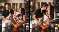 Matt Andrews Photography engagement cooking cupcakes Viking kitchen Franklin Factory