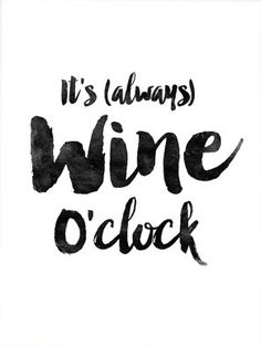 "Home and Living Home Decor ""It's always wine o'clock"" Printable Art Poster…"