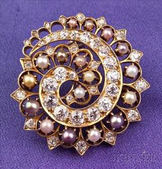 Antique 14kt Gold, Diamond and Pearl Pendant Brooch