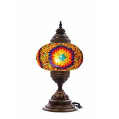 Multicolour Turkish Moroccan Style Mosaic Table Lamp Lampshade Hand Made MU3004