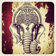 Street artist love his work! Elephant Art, Elephant Tattoos, Indian Gods, Indian Art, Religions Du Monde, Meditation Tattoo, Om Gam Ganapataye Namaha, Elefante Hindu, Images Of Faith