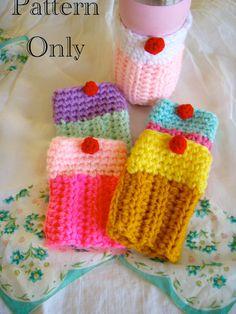 Crochet Cupcake Coffee Tea or Adult Beverage by Crochet Mitts, Crochet Mug Cozy, Crochet Gloves Pattern, Crochet Cupcake, Easter Crochet, Crochet Phone Cases, Crochet Mobile, Easy Crochet Projects, Crochet For Beginners